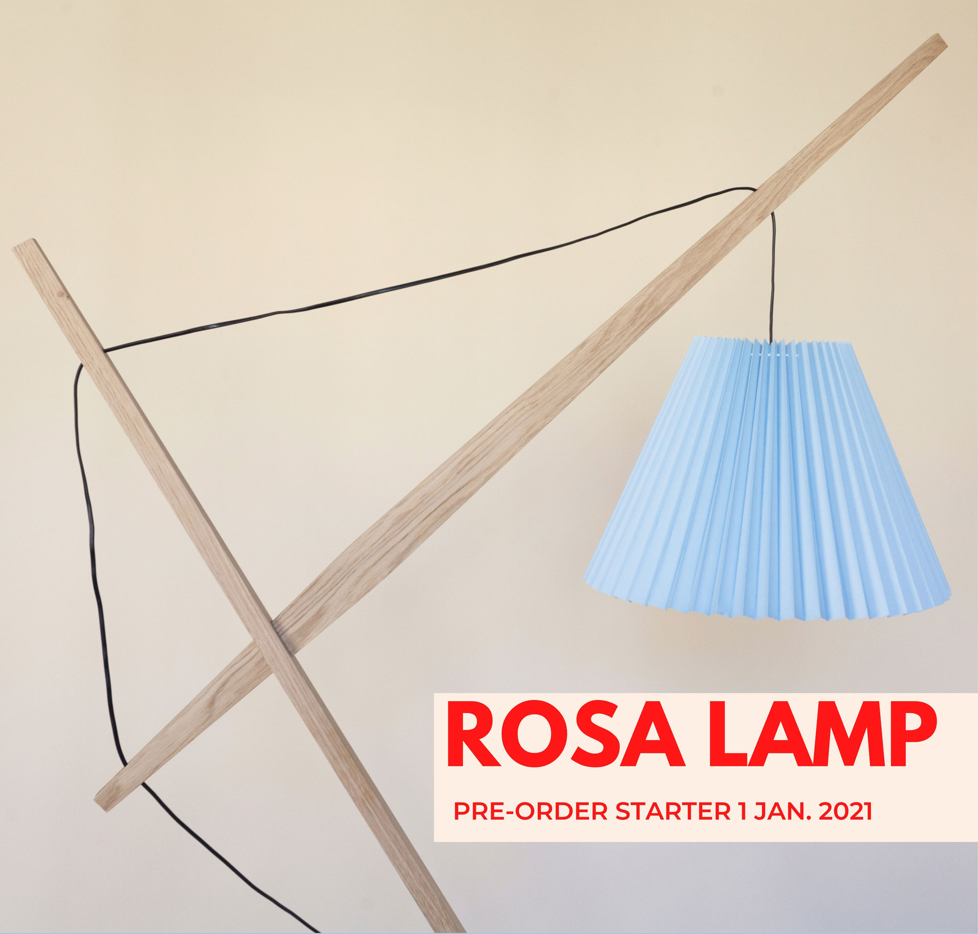 preorder Rosa lamp. Rosa lamp er fremstillet af egetræ fra sjællandske skove.